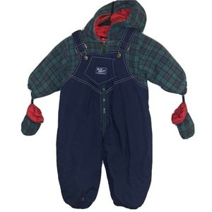 Vintage Oshkosh B'Gosh Hooded Snowsuit Flannel
